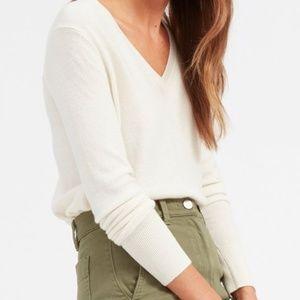 Everlane Cashmere V Cream Size S